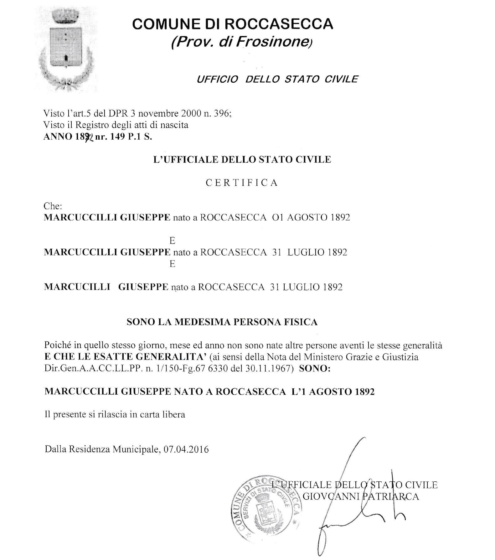Certificate Positivenegative Esatte Generalita My Italian