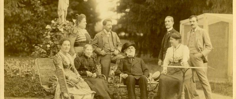 Giuseppe Verdi posing with his family.